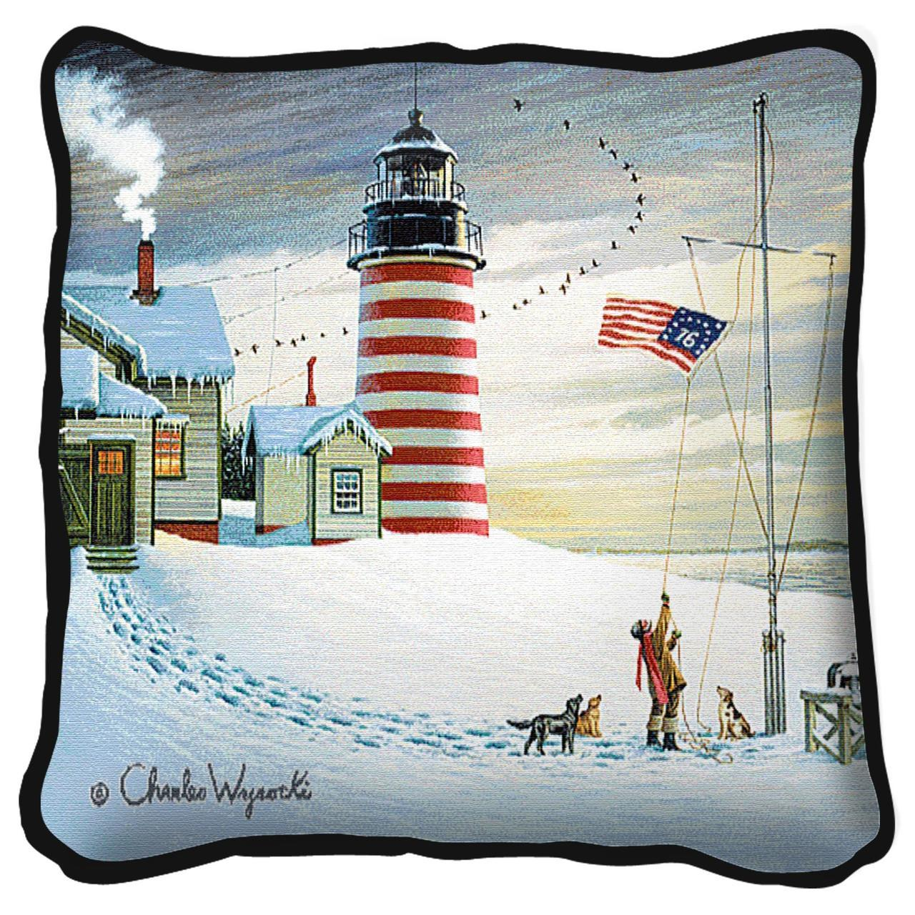 Throw Pillow-17 x 17-Americana-West Quoddy Lighthouse