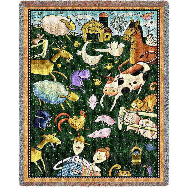 Throw Blanket-34 x 53-Woven Tapestry-Babies-Children-Old MacDonald