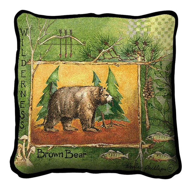 Throw Pillow-17 x 17-Rustic-Brown Bear