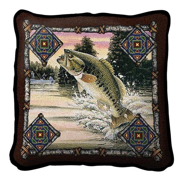 Throw Pillow-17 x 17-Rustic-Fish Lodge-Bass