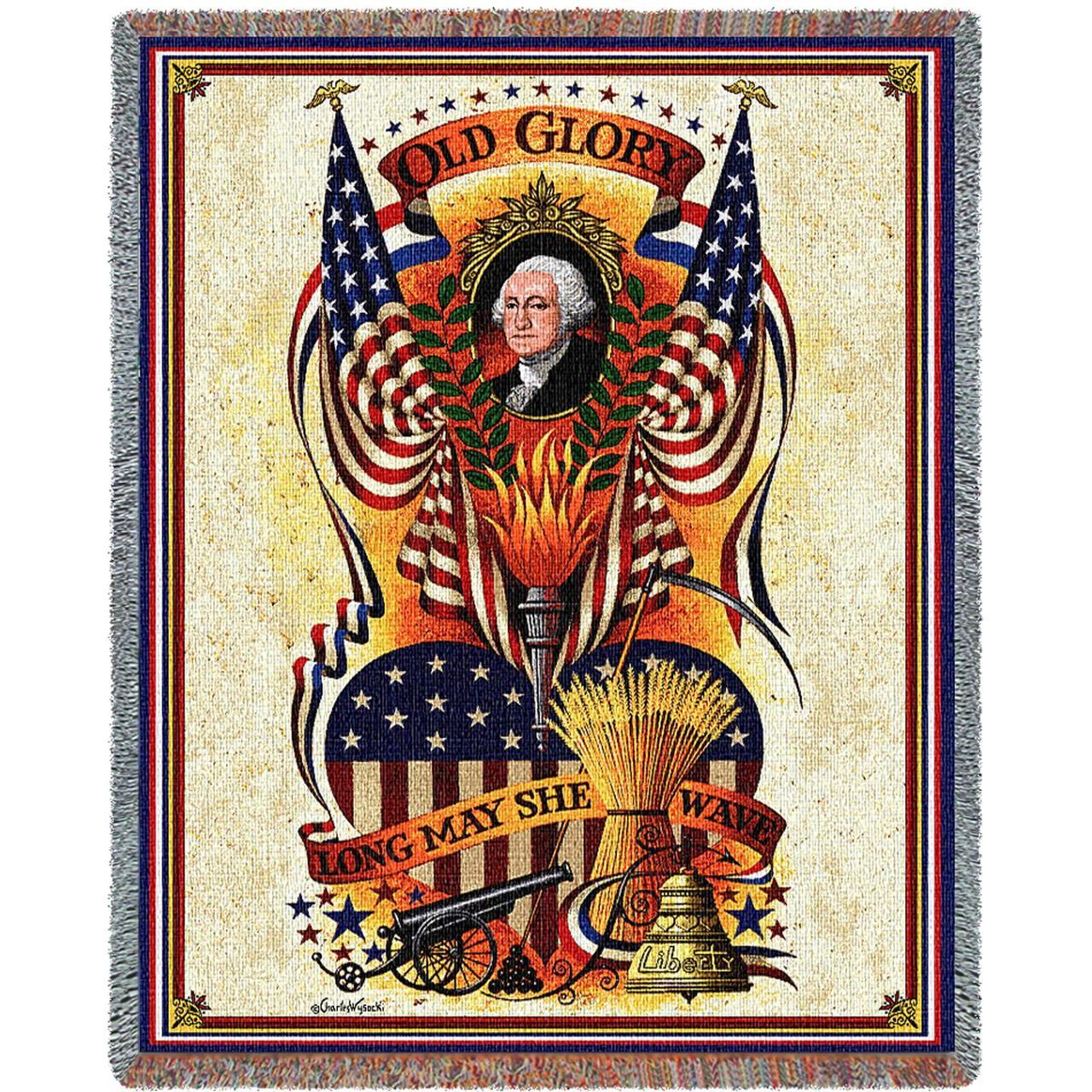 Throw Blanket-54 x 72-Americana-Long May She Wave