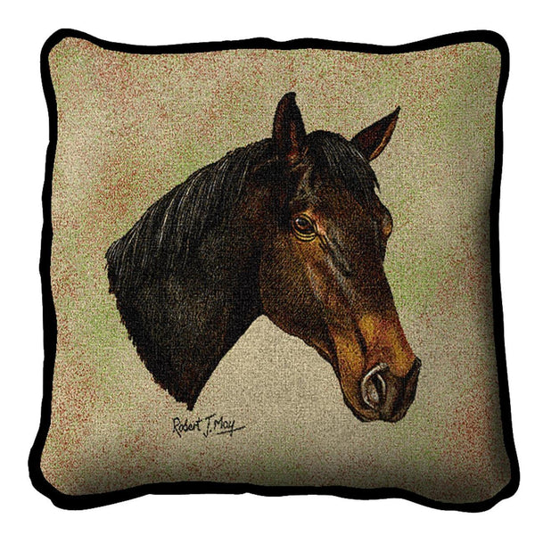 Throw Pillow-17 x 17-Animal Lover-Thoroughbred-Horse
