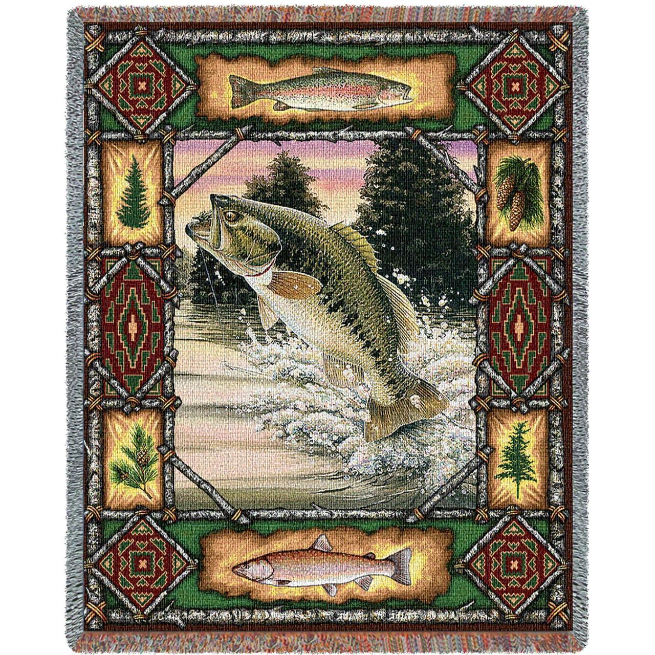 Throw Blanket-54 x 70-Matching-Throw Pillow-Rustic-Fish Lodge-Bass