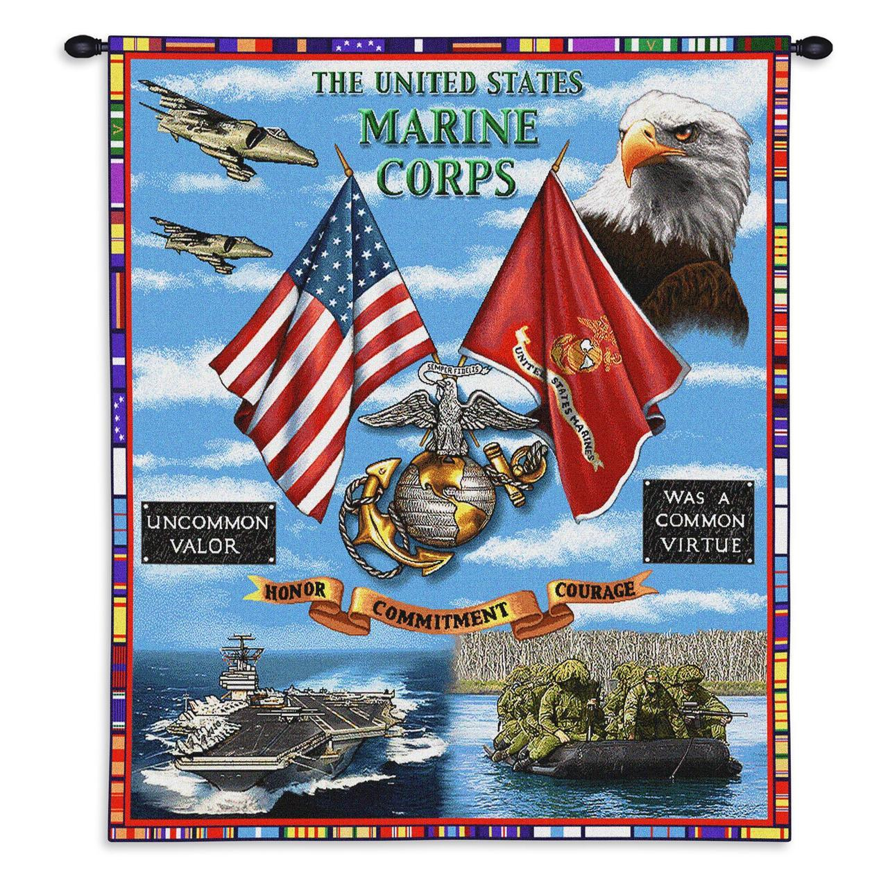 Tapestry-Wall Hanging-26 x 34-Those Who Serve-USMC-Aircraft Carrier