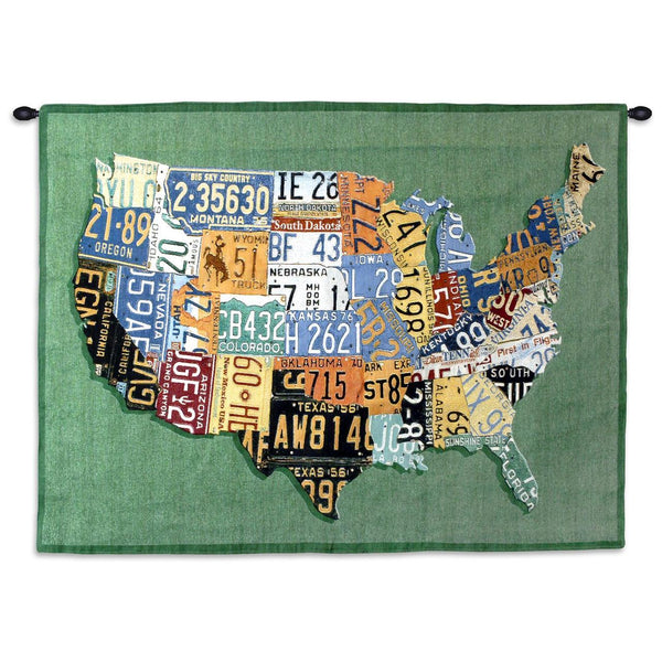 Tapestry-Wall Hanging-34 x 26-Americana-U.S. Tag Map
