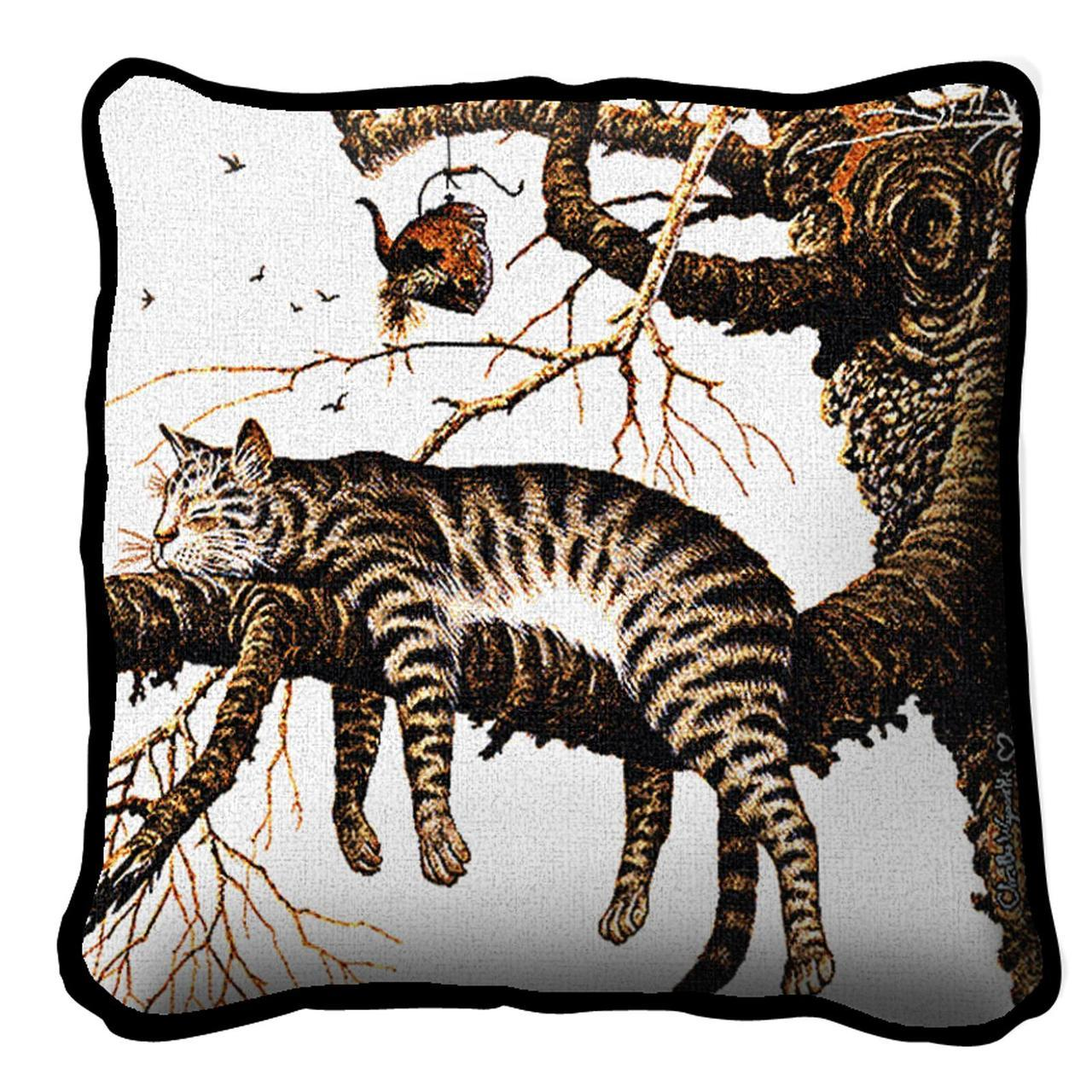 Throw Pillow-17 x 17-Animal Lover-Too Pooped to Participate-Cat