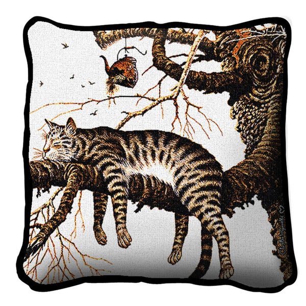 Throw Pillow-Too Pooped to Participate-Pet Lover