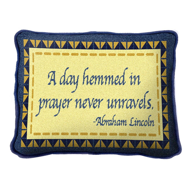 Christian Decor-Throw Pillow-12 x 8-Day Hemmed in Prayer
