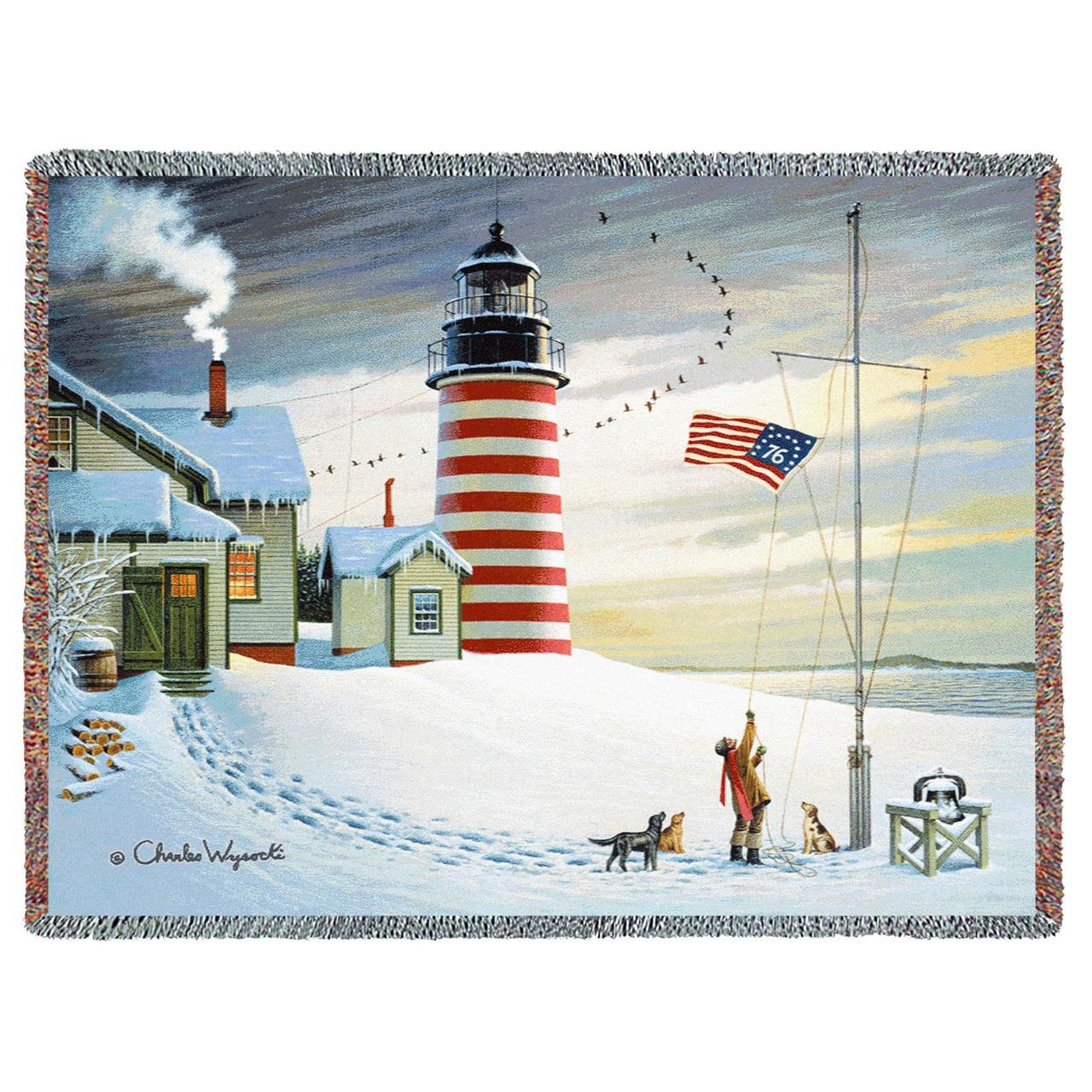 Throw Blanket-54 x 72-Matching-Throw Pillow-Americana-West Quoddy Lighthouse