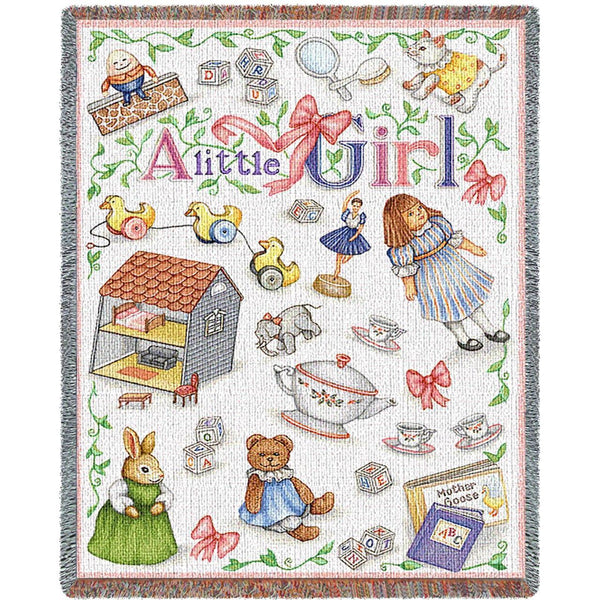Throw Blanket-45 x 54-Woven-Babies-Children-Little Girls