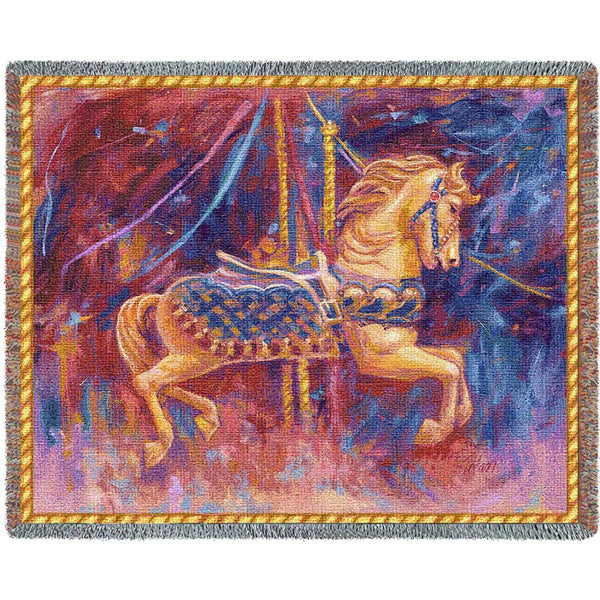 Throw Blanket-70 x 54-Woven-Babies-Children-Carousel Horse