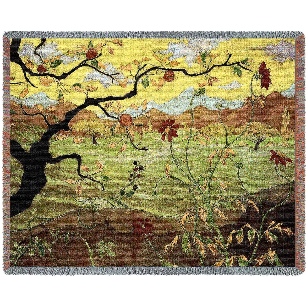Throw Blanket-70 x53-Nature-Cozy Home-Apple Tree With Red Fruit