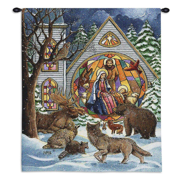 Tapestry-Wall Hanging-34 x 26-Christian-Seasonal-Christmas-Snowfall Nativity
