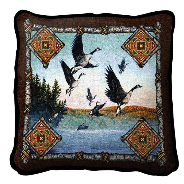 Throw Pillow-17 x 17-Rustic-Geese Lodge