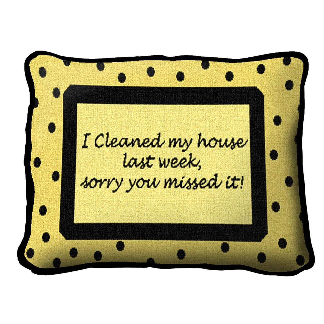 Throw Pillow-12 x 8-Positive Thoughts-Funny-Sorry-Cleaned