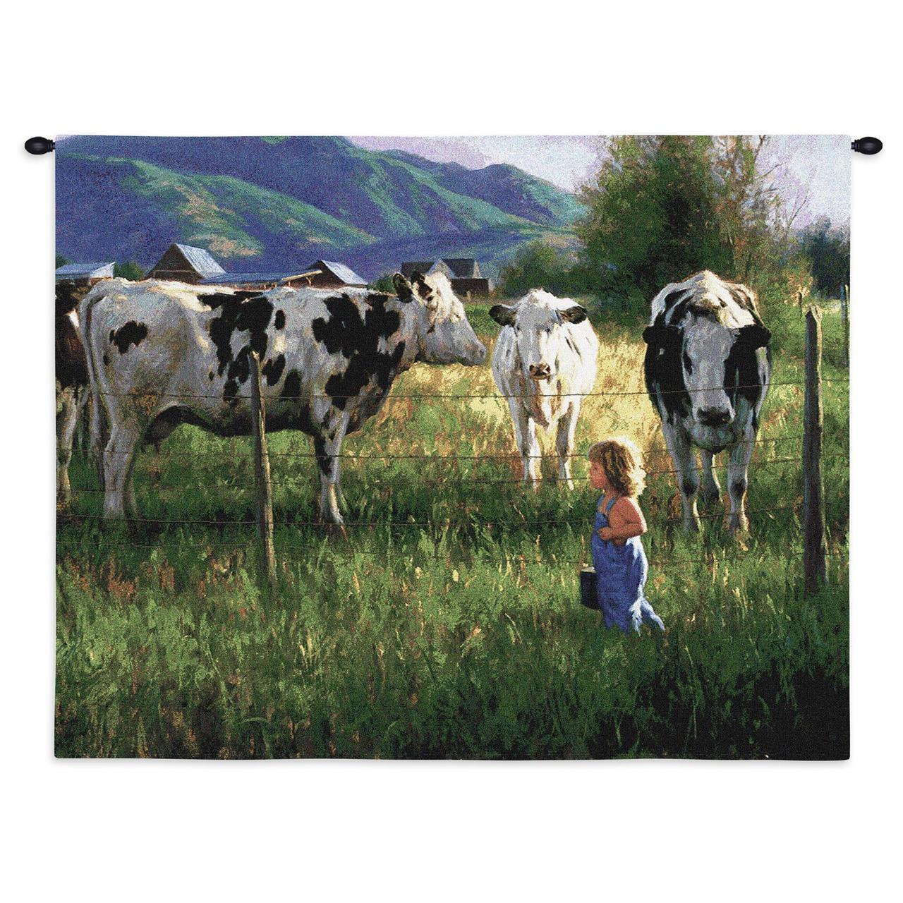 Tapestry-Wall Hanging-34 x 26-Country Life-Walk Among the Cows
