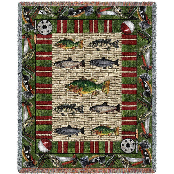 Throw Blanket-53 x 70-Rustic-Gone Fishing