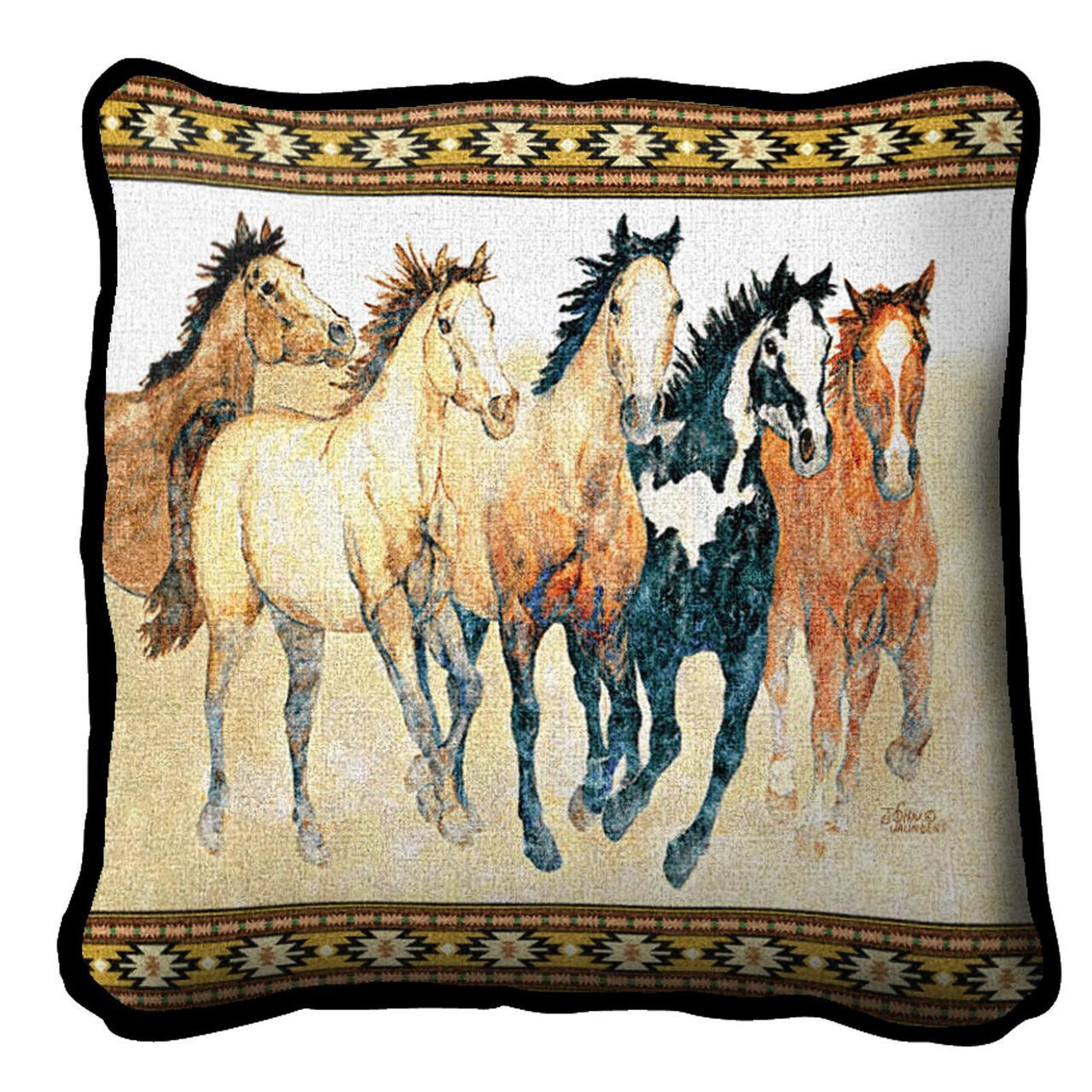 Throw Blanket-Matching-Throw Pillow-Animal Lover-Stepping Out-Horses