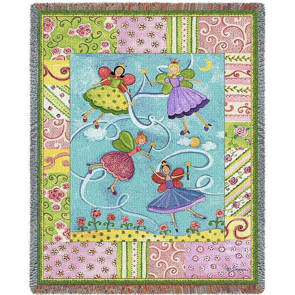 Throw Blanket-53 x 70-Woven-Babies-Children-Patchwork Fairies