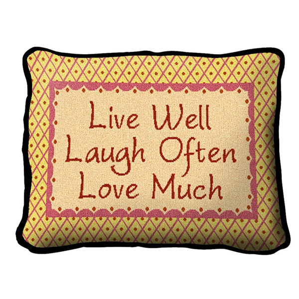 Throw Pillow-12 x 8-Positive Thoughts-Live-Laugh-Love
