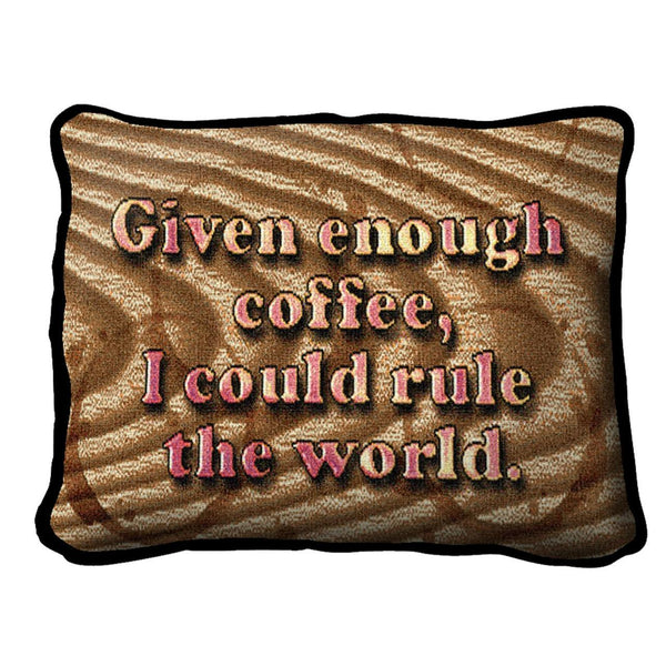 Throw Pillow-12 x 8-Positive Thoughts-Coffee