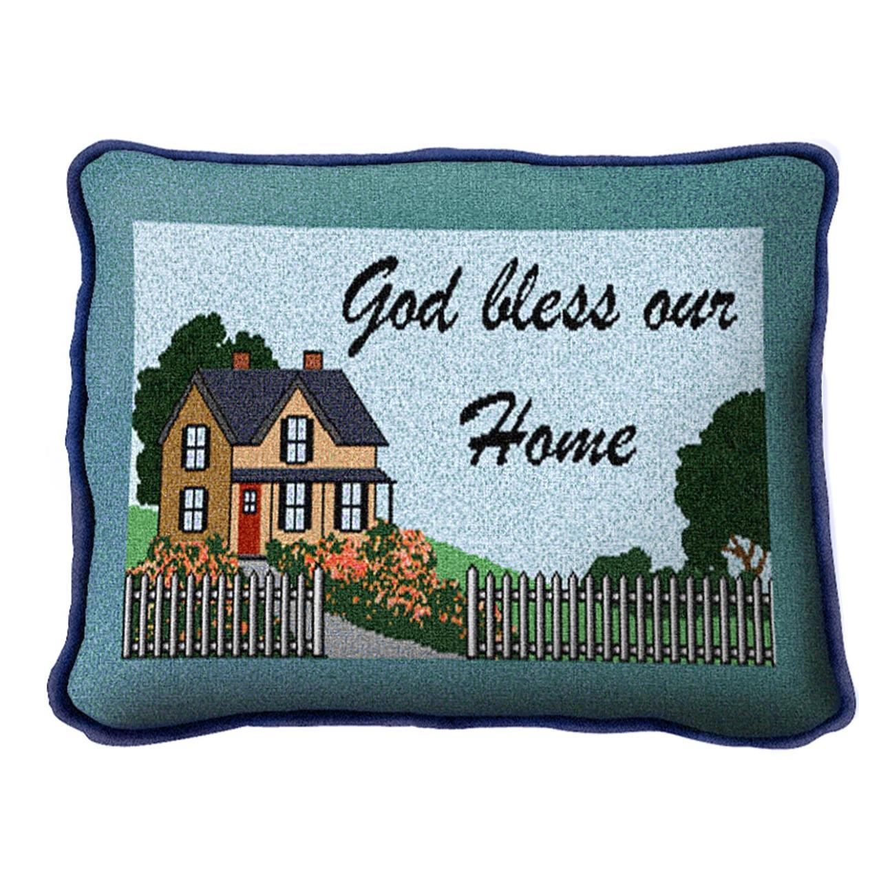 Christian Decor-Throw Pillow-12 x 8-God Bless Our Home