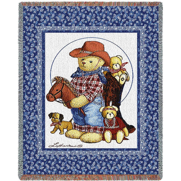 Throw Blanket-35 x 54-Woven Tapestry-Babies-Children-Curly Bear Quilt