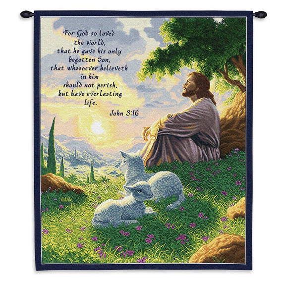 Tapestry-Wall Hanging-26 x 32-Christian-John 3:16