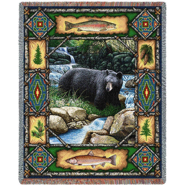 Throw Blanket-54 x 70-Matching-Throw Pillow-Rustic-Bear Lodge
