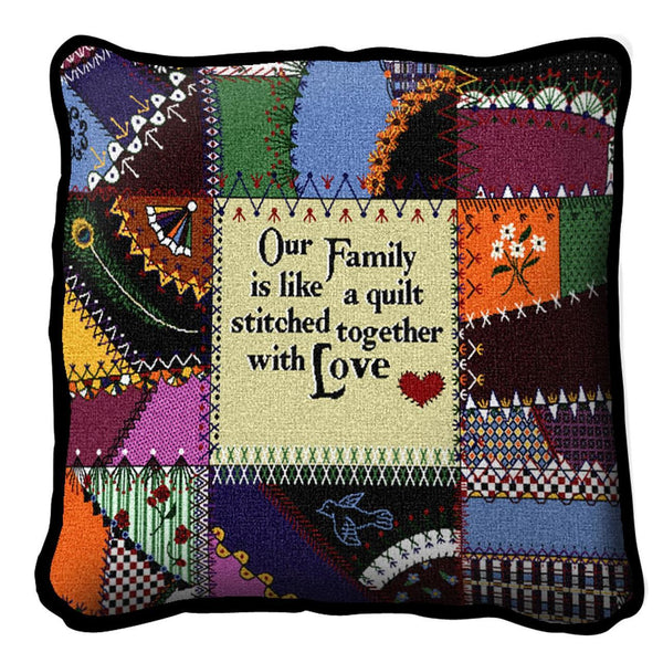 Throw Pillow-17 x 17-Friends-Family-Stitched With Love