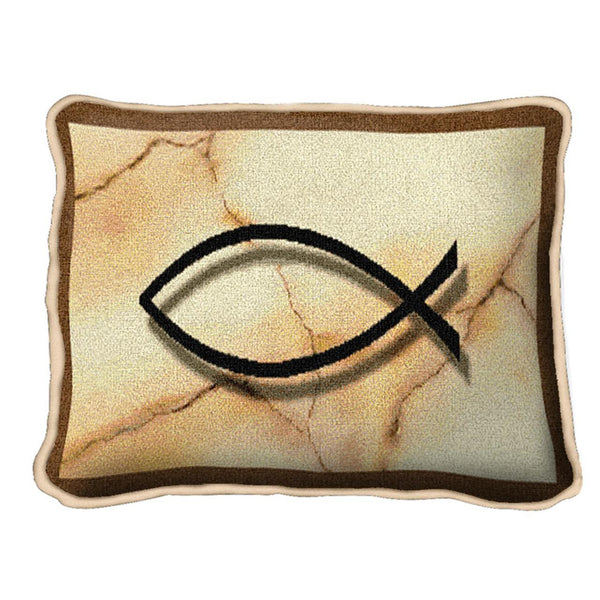 Christian Decor-Throw Pillow-12 x 8-Fish Word