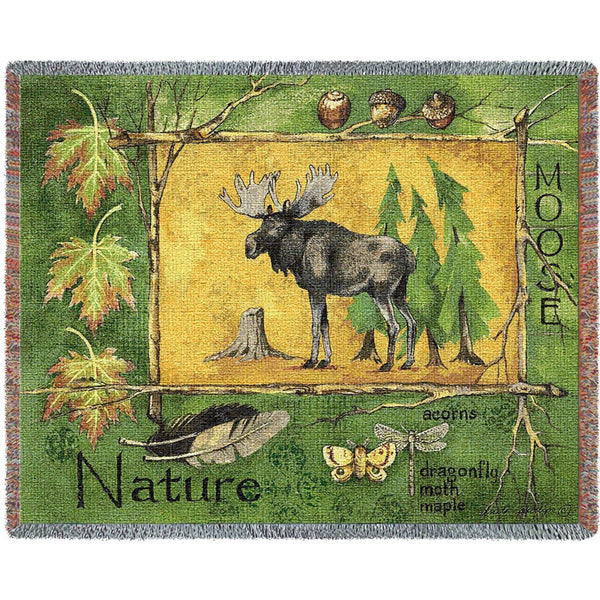 Throw Blanket-69 x 54-Matching-Throw Pillow-Rustic-Nature Moose
