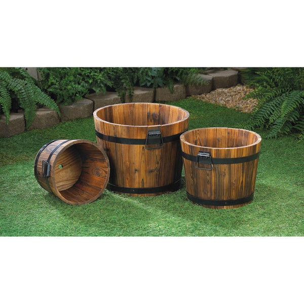 Garden Planters-Set of 3-Small-Medium-Large-Looks of Aged Apple Barrels