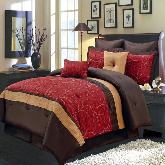 Bed Linen-Comforter 12 Piece Set-Queen-Atlantis Red