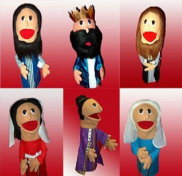 Puppet Ministry-6 Puppets-16 inch with Rods-Bible Time Collection