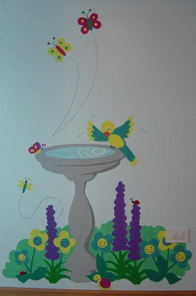 Birdbath DIY Paint by Numbers Wall Mural by Elephants on the Wall - Seasonal Expressions - 2