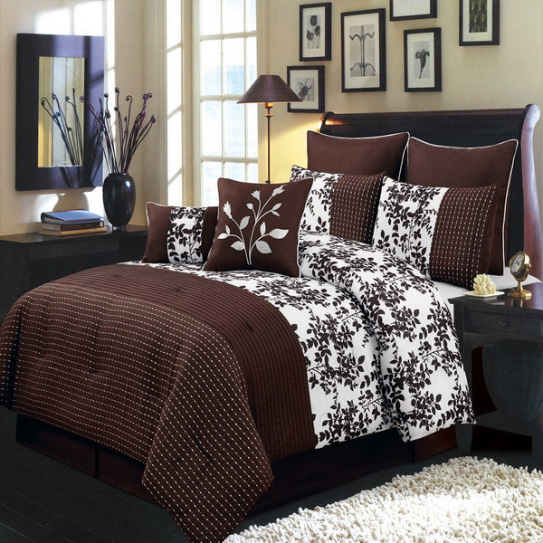 Bed Linen-Comforter 8 Piece Set-Luxury-Queen-Bliss Chocolate
