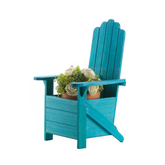 Garden Planter-Blue Adirondack Chair
