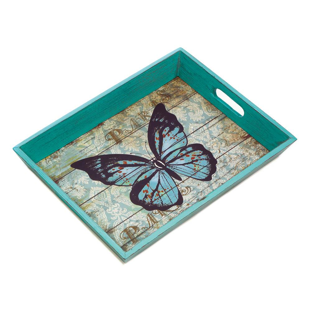 Serving Tray-16x12.2x2-Blue Butterfly