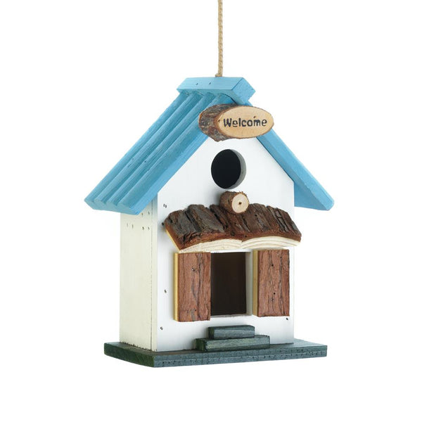 Birdhouse-Wood-Blue Rooftop-Loving Nature