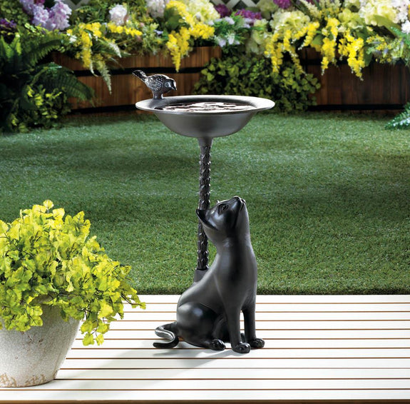 Birdbath-Aluminum-Brown Cat- Nature Lover