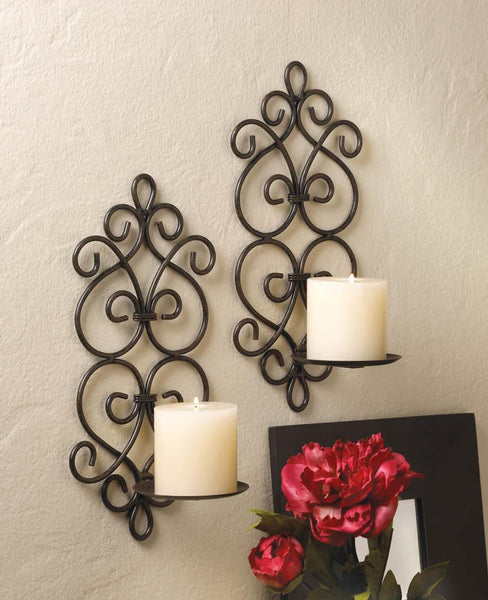 Wall Sconces-Set of 2-Burgeon Scrollwork-Cozy Home