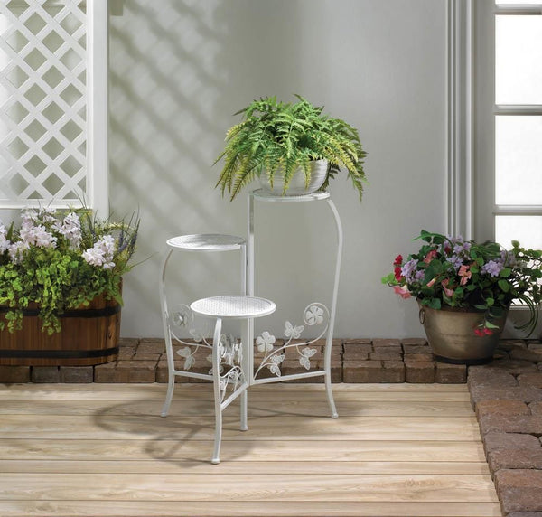 Plant Stand-Holds 3 Plants-White-Iron-Butterflies