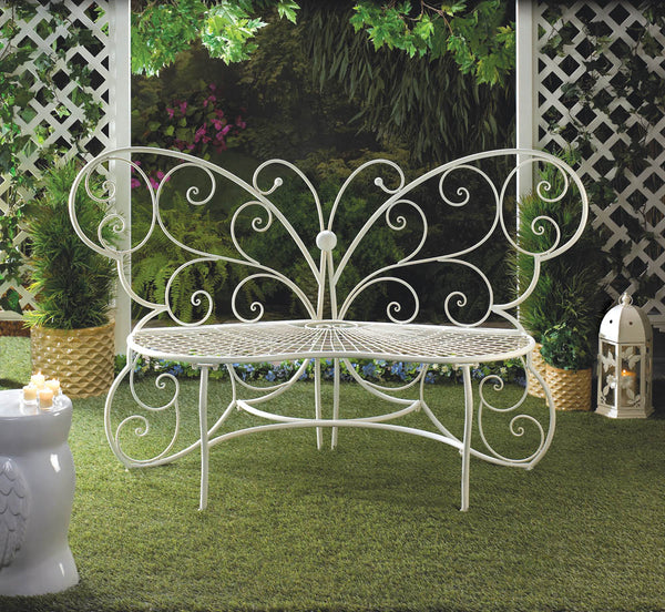 Garden Bench-White-Metal-Butterfly