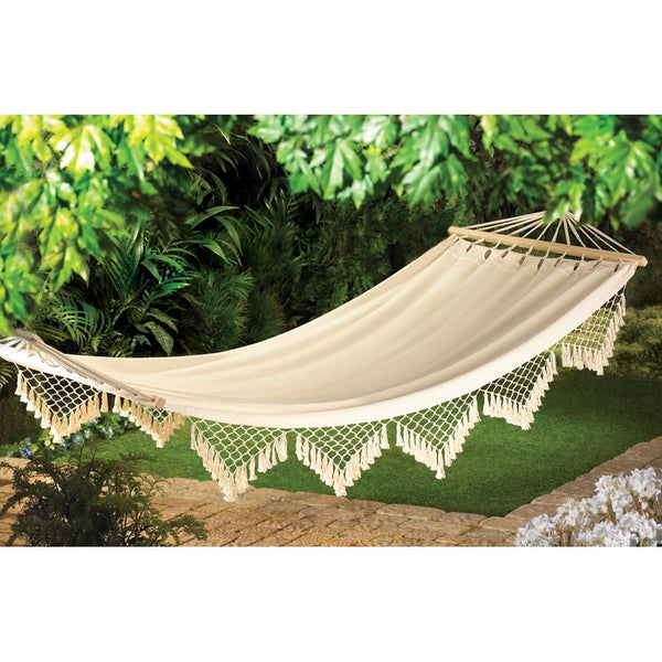 Hammock-264 Lb. Weight Limit-Cotton-Wood Frame-Rope