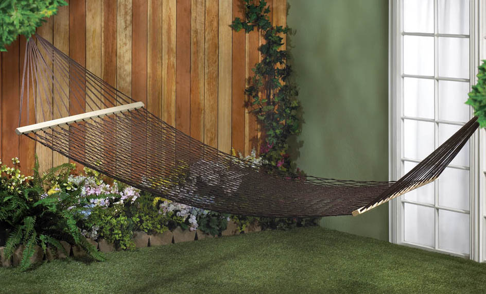 Hammock-Double-Espresso-Hued-Recycled Cotton-440 Lbs. Weight Limit