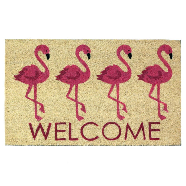 Welcome Mat-Flamingos-Tropical-Nautical