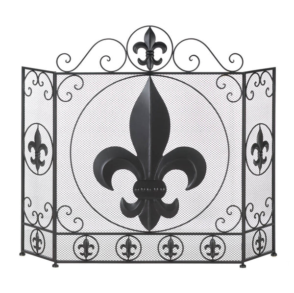 Fireplace Accessories-Screen-Fleur-De-Lis