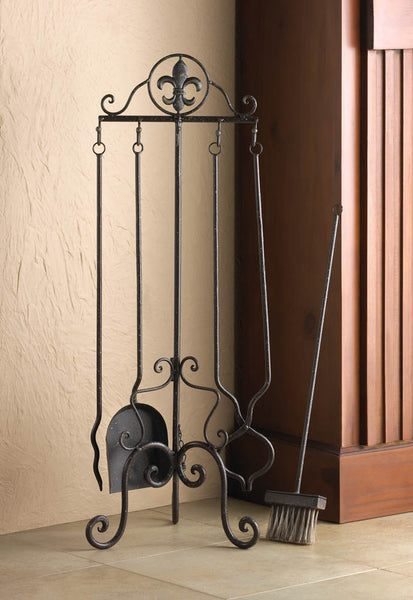 Fireplace Accessories-Tool Set-Fleur-De-Lis