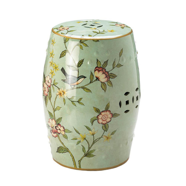 Decorative Stool-Ceramic-Floral Garden